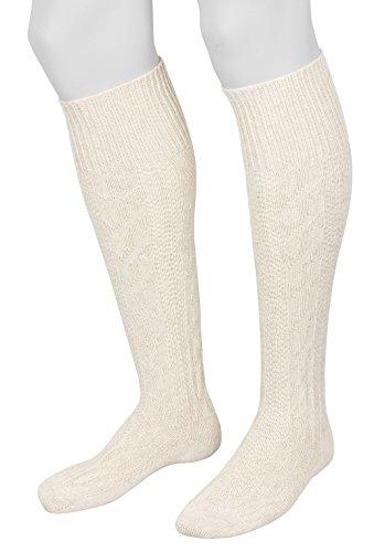 Tobeni 1 Paar Herren Trachtensocken Trachtenstrümpfe Kniebundstrümpfe lang Baumwolle mit Zopfmuster Farbe Natur Meliert Grösse 43-44