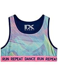 next Niñas Junior Camiseta Top Sin Mangas Acortado Estilo Deportivo Eslogan Run Repeat Dance (7-16 Años)