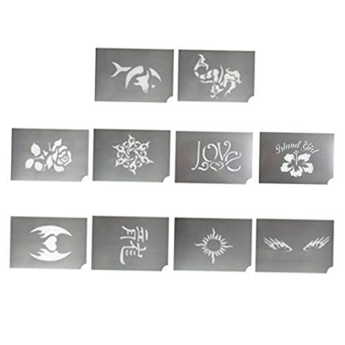 B Baosity 10 Designs Wiederverwendbare Body Art Face Paint Stencils Schablone für Geburtstag, Party, Weihnachten, Festival