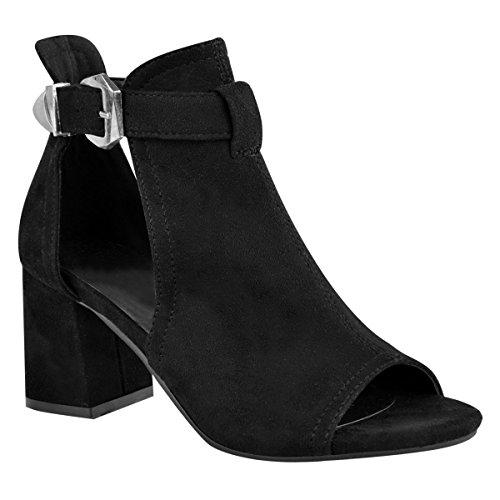 Fashion Thirsty Damen Peeptoe-Sandalen IM Stiefeletten-Stil - Mittelhoher Blockabsatz - Schwarz Veloursleder-Imitat - EUR 38
