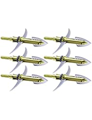 Longbowmaker 2-lames de Broadhead doré 6YB5( 6 Pack, 100 Grain )