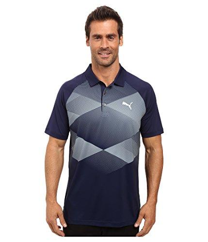 PUMA Golf Men's GT Argyle Polo Peacoat Polo Shirt SM - Argyle Golf Shirt