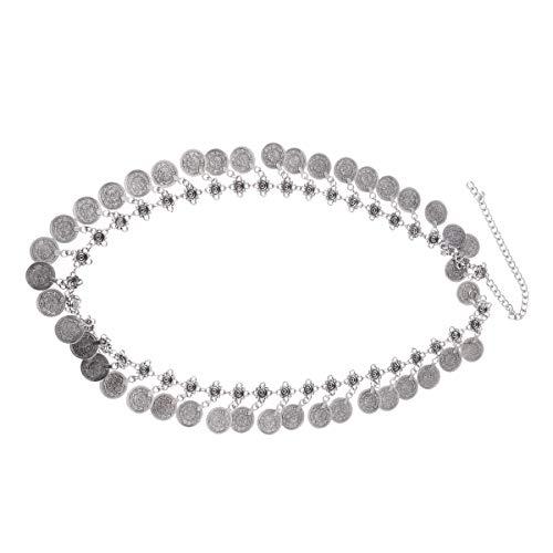 Agoky Damen Modische Einstellbare Vintage Taille Kette Überzogene Münze Bauchtanz Gürtel Körperschmuck Silber Silber A One Size