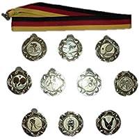 10 Bowling-Medaillen mit Bändern und 3 Bowling-Anstecknadeln.