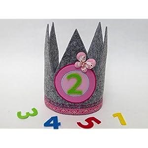 Geburtstagskrone in pink und grau mit 3 auswechselbaren Zahlen und Gummizug / Einheitsgröße