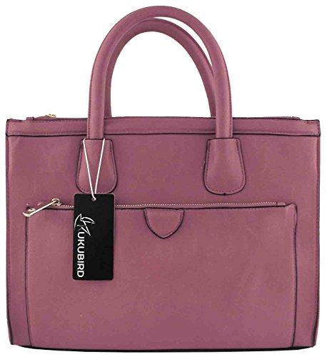 Kukubird Faux Leather Classic Tote Large Handbag PINK