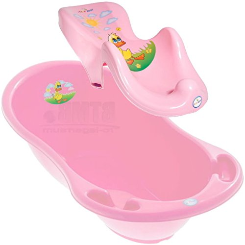 LUX BABY BADESET ENTE Große Babybadewanne 102cm + Badesitz Farbe Rosa