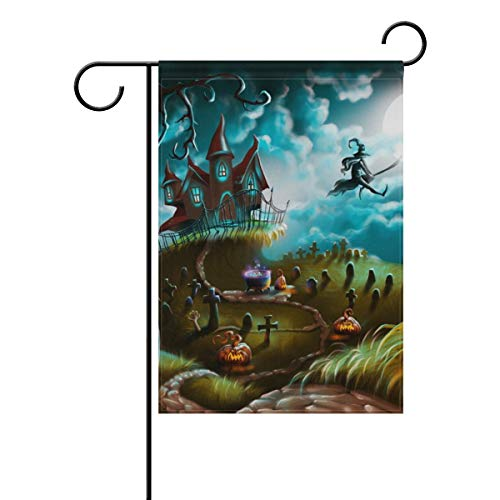 ASKYE Halloween Witch Castle Pumpkin Double Sided Polyester Garden Flag, Winter Holiday Decorative Flag for Party Yard Home Decor(Size: 28inch W X 40inch H)