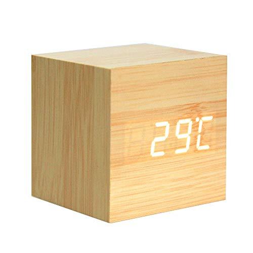 Lanker Reloj Despertador De Madera - Reloj Digital Mini Cubo con Pantalla De Hora/Fecha / Temperatura...