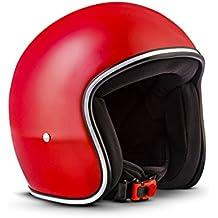 REBEL R2-mono - Jet-Helm Retro Motorrad-Helm Roller-Helm Vespa-Helm Scooter-Helm Chopper Vintage Mofa Cruiser Pilot Bobber Biker Helmet, incluida Stofftragetasche - FIBERGLAS - Extra KLEIN & Helm-Schalen fácilmente - 3 - PERFECT-FIT