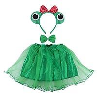 BESTOYARD-3-STCKE-Frosch-Kostm-Tutu-Rock-Set-Stirnband-Prinz-Prinzessin-Fee-Kleid-Kostme-Outfit-Party-Supplies-fr-Kinder-Grn