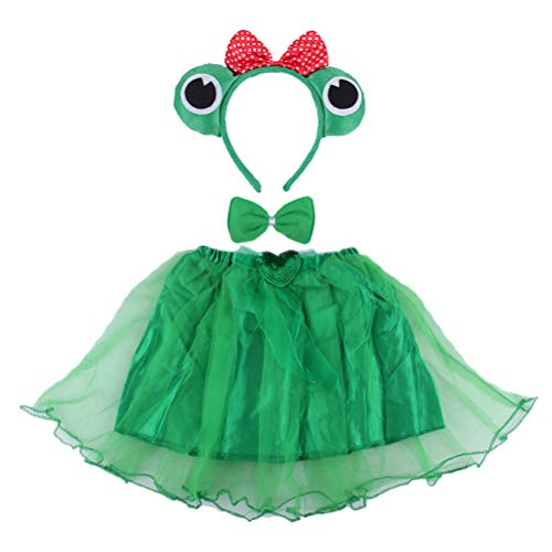 Kinder Frosch Kostüm Tier Kostüm Ohren Stirnband Bowtie Tutu Set Winkel Mädchen Dress Up Cosplay Outfit (Grün) ()