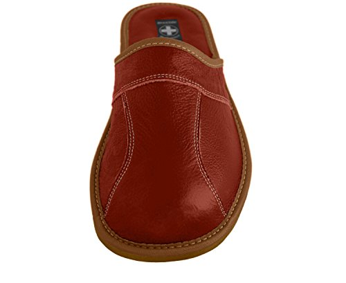 Natural Line Herren Leder-Hausschuhe, mit anatomischer Innensohle oder mit Wolle gefüttert, erhältlich in verschiedenen Farben Braun