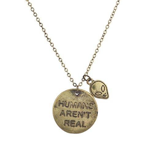 LUX Zubehör Boho Gold Echthaar nicht echt Verbiage Charm Anhänger Halskette