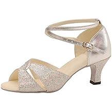 Silencio @ plata salón de baile de la mujer latina zapatos de baile zapatos de cuero sintético/Swing de purpurina brillante/Salsa sandalias, plata, US9 / EU40 / UK7 / CN41