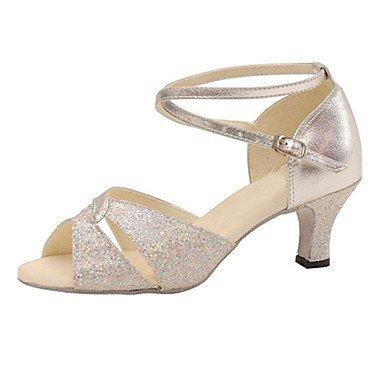 Silence @ Femme Argent piste de danse latine Chaussures de danse en similicuir/paillettes scintillantes Chaussures de swing/Salsa Sandales Silver