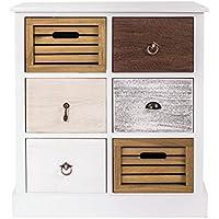 Rebecca SRL Cajonera Comoda Vintage 6 Cajones Case de Campo Madera Marron Blanco Gris Dormitorio Baño Casa (Cod. 0-1330) - Muebles de Dormitorio precios