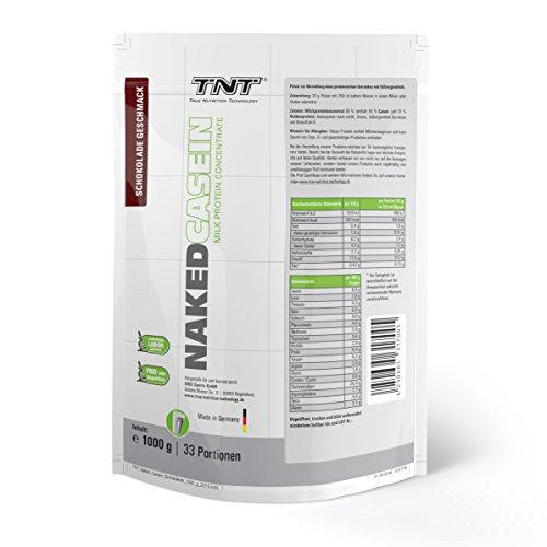 Casein-Protein von TNT | Eiweiß-Pulver mit Aminosäuren für Fitness, Sport & Bodybuilding | Protein-Shake für Muskelaufbau und Abnehmen | Naked Casein Protein-Pulver | 1kg Beutel – Schokolade