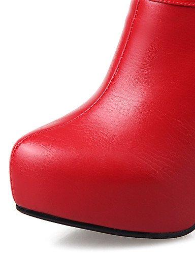 WSS 2016 Chaussures Femme-Mariage / Habillé / Soirée & Evénement-Noir / Rouge / Blanc-Talon Aiguille-Talons / A Plateau / Bottine / Bout Pointu / black-us8 / eu39 / uk6 / cn39