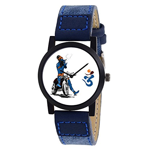 Shocknshop Exclusive Stylish Black Dial Analog Watch For Men & Boys - Blue Bhole