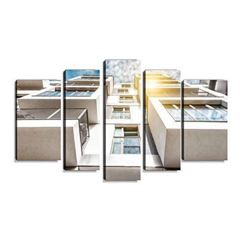 Inbel Kunst kubische Wohnarchitektur in Berlin mit Balkon Wandbilder abstrakt Leinwandbild Digitalkunstdruck leinwanddrucke Eigenes Design Gemlde Wanddekoration mit Holzrahmen 5-teilig