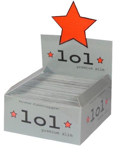 * LoL * King Size premium slim 1 Box / Display = 50 Hefte / Booklets / Heftchen lange Papers Longpapers Box 50 x 32 = 1600 Blättchen