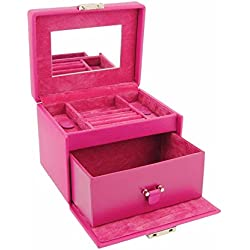 Small jewelry box with handle, mirror and lock