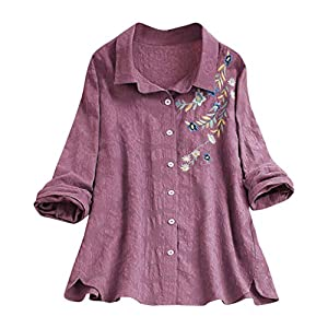 DQANIU Damen Casual Langarm Stickerei Knopf Shirt Leinen Plus Size Revers lose Bluse Damen Elegant Vintage Simple Tops…