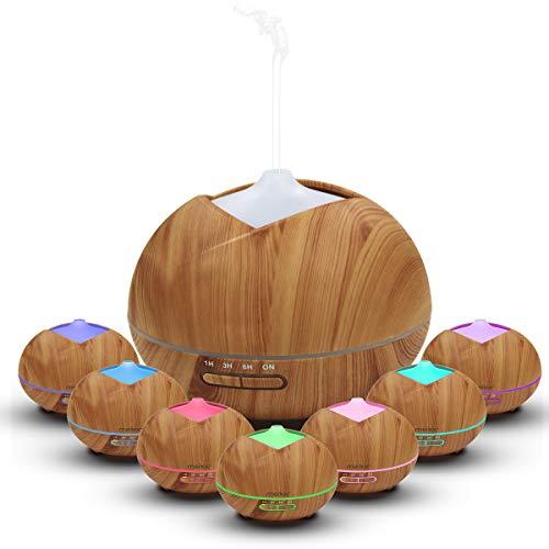 Meixx Ultrasónico Aromaterapia Humidificador 400ml, Difusor de Aceites Esenciales de Vapor Frío, 7-Color LED y 4 Ajustes de Tiempo, Perfecto para Hogar, Oficina, Bebé, Dormitorio, Grano de madera