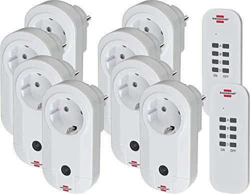 Brennenstuhl Funkschalt-Set RC CE1 4001 (8er Funksteckdosen Set Innenbereich, mit Handsender und Kindersicherung) weiß