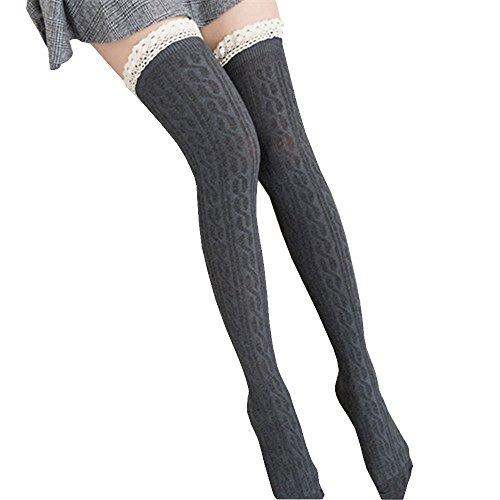 (Modaworld Frauen über dem Knie Lange Socken Spitze Schenkel hohe Socken Damen Kniestrümpfe Overknee Strümpfe Strumpfhosen Baumwollstrümpfe Stricksocken Stützkniestrümpfe Gestrickte Socken)