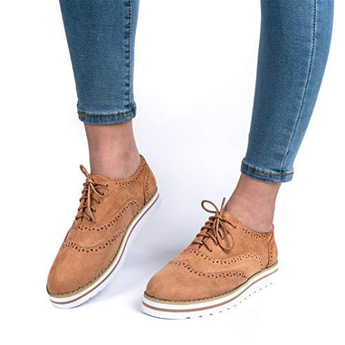 Scarpe stringate donna eleganti basse zeppa brogue oxford pu pelle vintage mocassini casual sneakers marrone 41