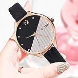 XiYuanShangMao Frauen Splei?en Farbe Uhren Lady Lederband Quarz Armbanduhren (Schwarz)