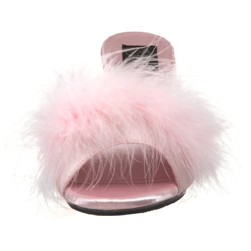 Damen 301F Pleaser BELLE Fur Clr Marabu Satin Pantolette B Pink fqf7EW5wrn