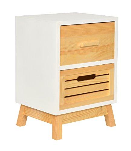 ts-ideen Landhaus Kommode Schubladenschrank Nachttisch Holz 43 cm in Weiß zur Aufbewahrung im Bad, Kinderzimmer, Flur, Schlafzimmer