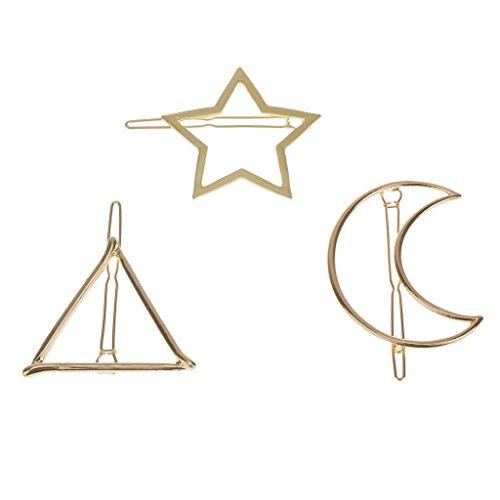 3pcs Pince Clip à Cheveux Triangle Lune Etoile Bijoux Couleur d'Or