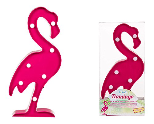 Rosa Kunststoff Flamingo mit 7 warmweißen LED Cocktail Bar Party Lampe Light