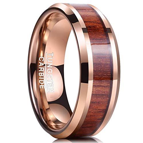 Ring Damen/Herren rosegold 8mm Nuncad, Wolfram Ring Unisex mit Hawaii Tochigiholz, für Hochzeit, Verlobung, Party und Alltag, Größe 59 (19)