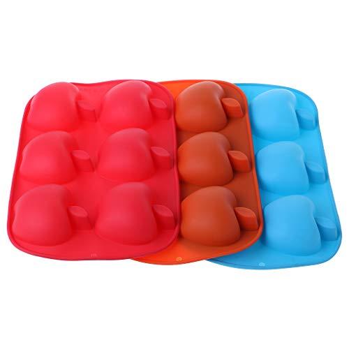 Biniwa – Silikon 6 Mulden, Apfelform, Pudding, Dekoration, Backform, Cutter Tool für DIY Cupcake, Kuchen, Zuckerguss, Schokolade, Süßigkeiten-Projekt – zufällige Farbe