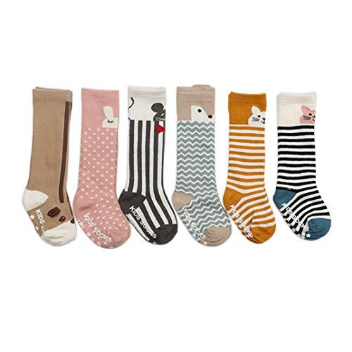 VWU Baby Stulpen Unisex Mädchen Jungen Kniestrümpfe Tier Lang Knie Socken Anti Rutsch Sohle Tier Schlauch Baumwolle Strümpfe 6er Pack 0-2/2-4 Jahre (2-4 Jahre) -