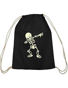 Halloween Grusel Skelett natur Turnbeutel mit Dabbing Skeleton Motiv