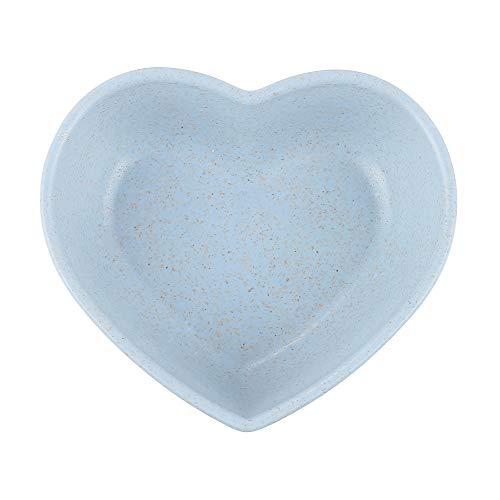 WARMTOWE Mini-Gewürzschale mit Weizenstrohhalm, solide, würzige Soßenschale, Gewürzschale, Salz, Snack, Kleiner Teller blau blau Heart-Shaped