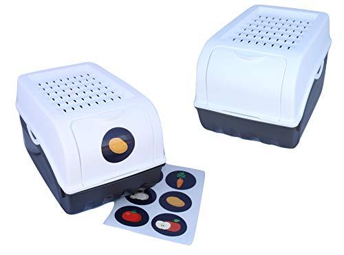 Rival 2 x Vorratsdose für Kartoffeln, Gemüse, Obst, Zwiebeln, Aufbewahrungsbox, Kunststoff, Volumen von 7,7 Liter (Set 2 Boxen) (Weiß)
