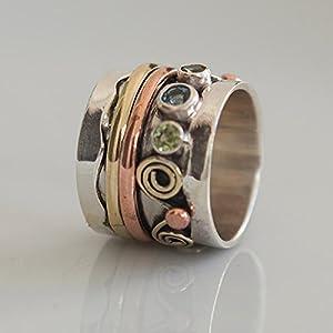 925 Sterling Silber Spinner Ring Set mit Messing und Kupfer Elementen und Edelsteinen – Spinning Ring – Meditationsring…