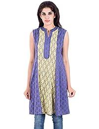 House Of Tantrums Purple::Yellow Cambric Net Kurti