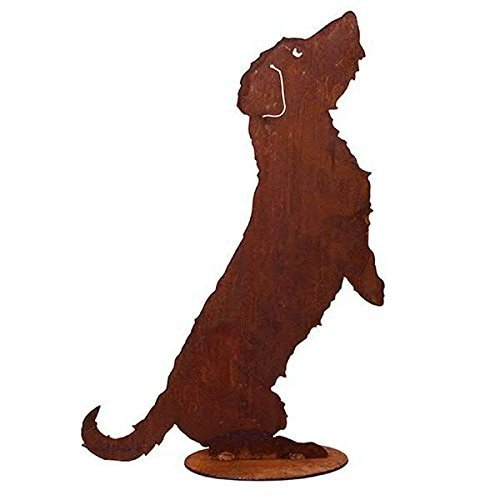 Tierdeko Garten - Hunde Dekoration: Stehender Hund / Rauhaardackel auf Platte (Fester Stand) - Höhe 60cm / Breite 40cm - Edelrost Gartendekoration -