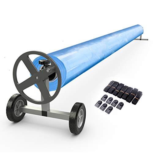 GOPLUS Enrouleur de Bâche Télescopique pour Piscine Enrouleur de Couverture Thermique Tube en Aluminium et Support en Acier Inoxydable Extensible de 420cm à 466cm