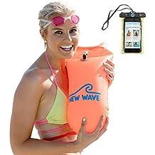 Swimming Buoy Swim Bubble ✪ SCHWIMM BOJE AUFBLASBAR ✪ Open Water und Triathlon GRATIS Handyh/ülle /— Sicherheit beim Schwimmen Wertgegenst/ände am See Pool Fox /& Fish Schwimmboje /& Trockensack inkl
