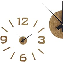 reloj de pared adhesivo madera clara