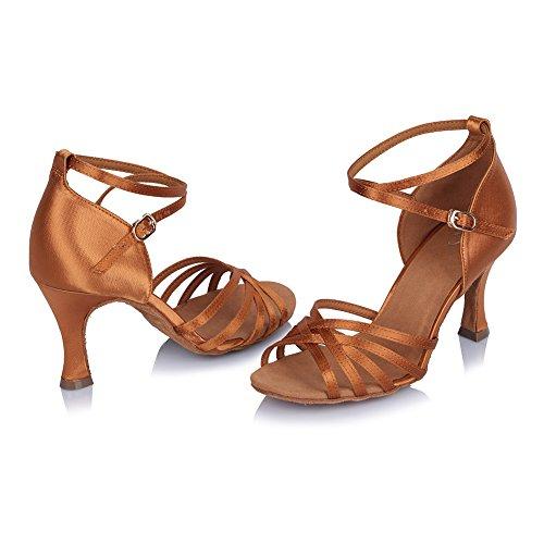 Ykxlm Femmes Et Petites Filles Chaussures De Danse Latine En Satin / Chaussures De Salle De Bal Standard, Modèle-itaf401 Marron